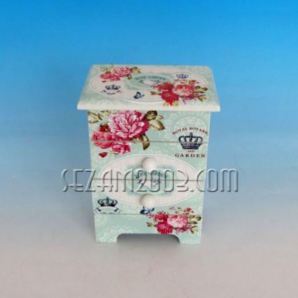 Кутия за бижута от дърво винтидж декор с  огледало