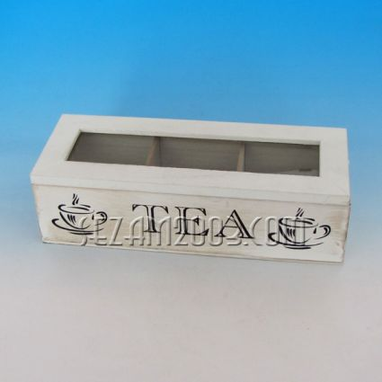 Tea box made of wood and glass - decorated