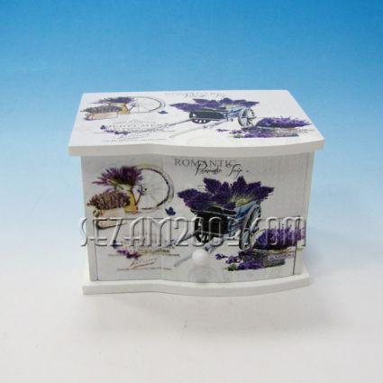 Кутия за бижута с огледало и чекмедже от дърво винтидж декор