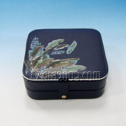 Кутия за бижута от изкуствена кожа с огледало -   винтидж декор