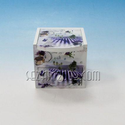 Кутия за бижута с винтидж декор от дърво с огледало и чекмедже