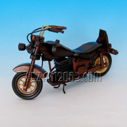 Model of a motorcycle made of wooden elements