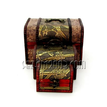 Decorated jewelry boxes made of wood - 3 pcs