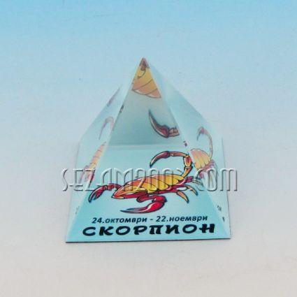 Стъклена пирамида със зодия - СКОРПИОН