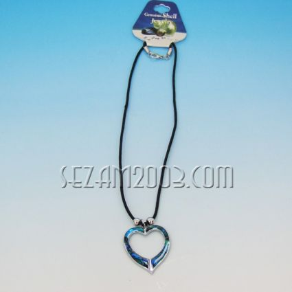 Колие с висулка от океански седеф и метал-сърце