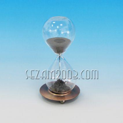 Metal and glass hourglass