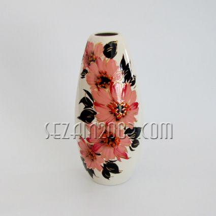 Ваза керамична  - цветя , ръчно рисувана