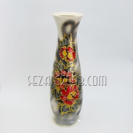 Ceramic vase - flowers, hand painted