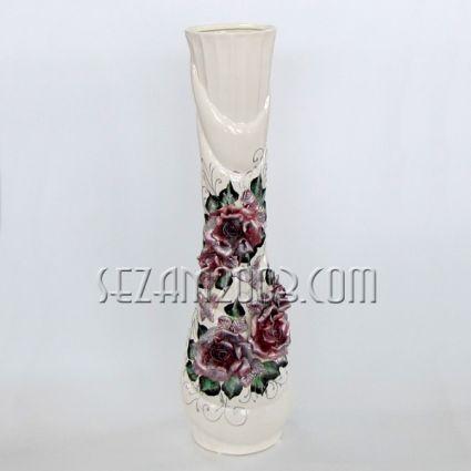 Ваза керамична ДАЛИЯ с глазура и лепени цветя - ръчно декорирана
