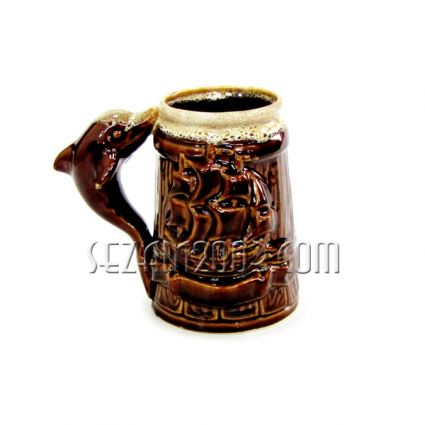 Dolphin and sailboat ceramic mug