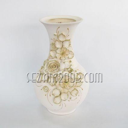 Ваза керамична бяла Аурелиа  - ръчно апликирана с цветя