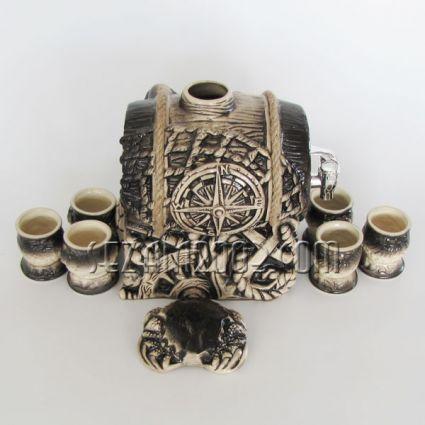 Ceramic alcohol barrel with 6 glasses