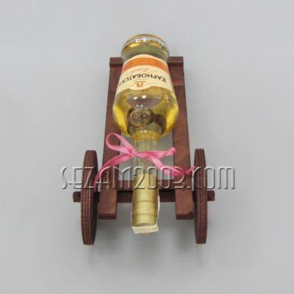 Топче - дървена поставка за ракия +бутилката