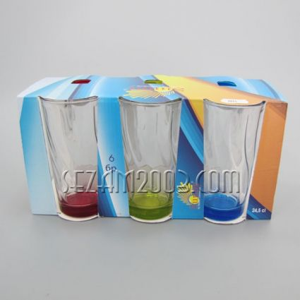 Water glass colored bottom - 6 pcs. in the package