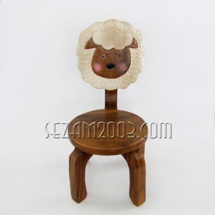 Столче с облегалка детска - АГЪНЦЕ  с цветна дърворезба