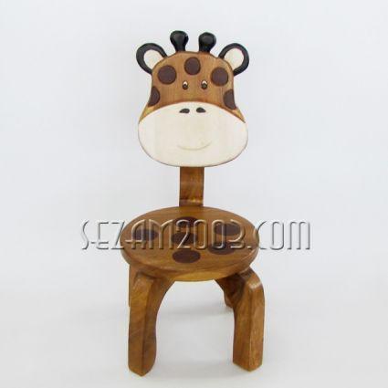 Столче с облегалка детска - ЖИРАФ  с цветна дърворезба