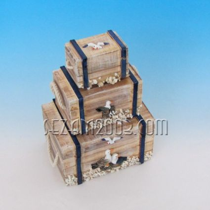 Wooden boxes with sea decor - 3 pcs