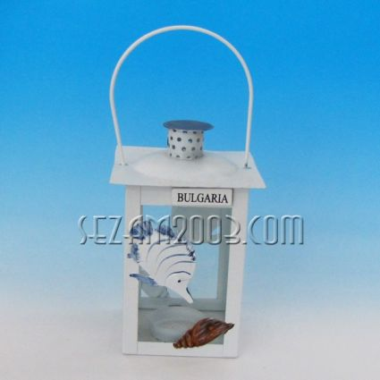 Фенер метален+стъкло с морски декор