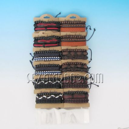 Bracelet of leather and fabric mix colors 12 pieces