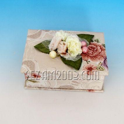 Кутия за бижута от плат+огледало - ракла