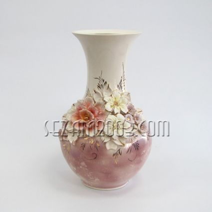 Ваза керамична цветна Аурелиа  - ръчно апликирана+глазура
