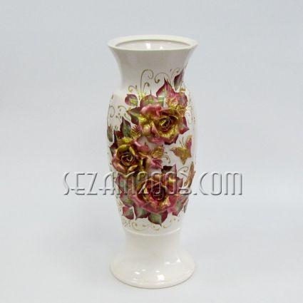 Ваза керамична лепени цветя - ръчно декорирана