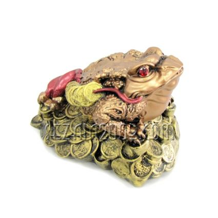 Жаба трикрака оцветена - фигура фън шуй от  керамика