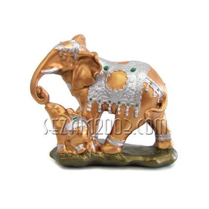 Слон с малко слонче - фигура от тънкостенна   керамика  ръчно декорирана