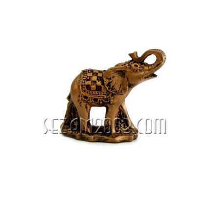 Слон на поставка  - фигура от тънкостенна   керамика  ръчно декорирана