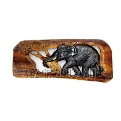 Пано за стена тиково дърво изрязано с 1 слон  ръчна изработка
