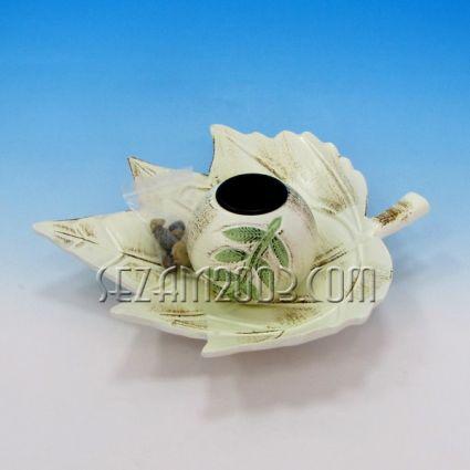 Свещник 1-ца от мдф с поднос листо - декориран+камъчета