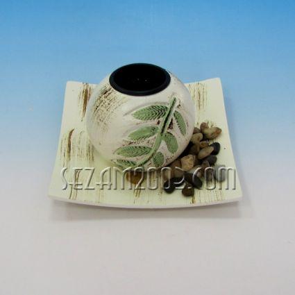 Свещник 1-ца от мдф с поднос - декориран+камъчета