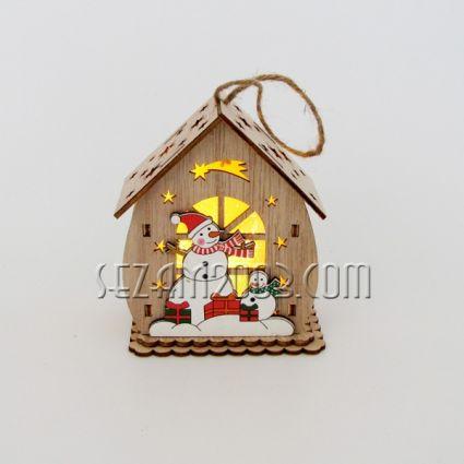 Къщичка с Коледна декорация от мдф и лампички /вкл.мини батерии/