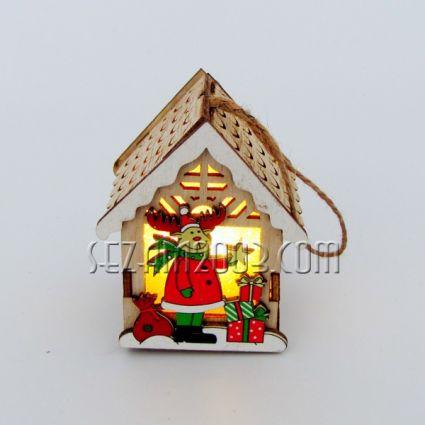 Къщичка с Коледна декорация с 2 лица от мдф и лампички /вкл.мини батерии/