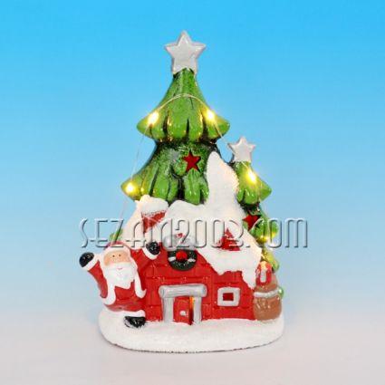 Коледна къщичка от керамика декорирана + лед лампи