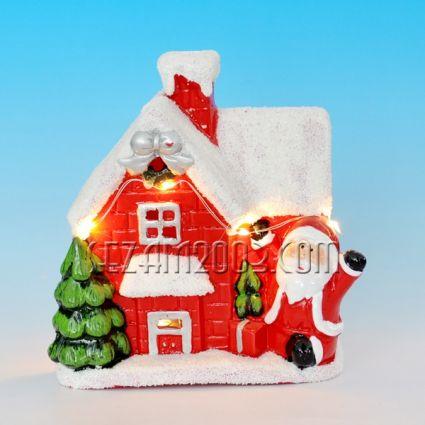 Къщичка от керамика с Коледна декорация+лед лампи