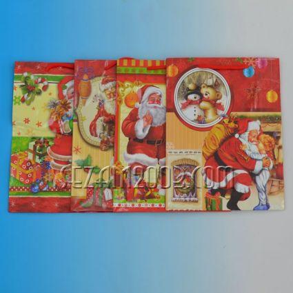 Коледна подаръчна торбичка гланцова хартия