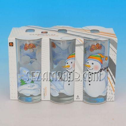 Чаша стъклена - 250мл с КОЛЕДНА декорация - 6 бр.в стек