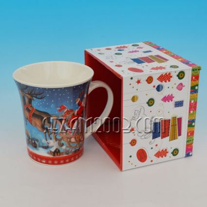 Чаша керамична в луксозна опаковка с Коледна декорация